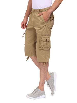 Long Cargo Work Shorts for Men