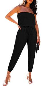 Women's Low Back Solid Tube Jumpsuit