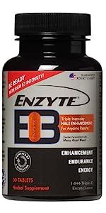 enzyte e3 bottle single brown bottle red orange and black accents