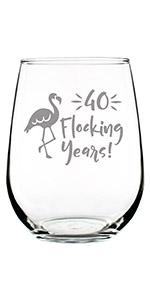 Text says 40 flocking years with image of a flamingo.