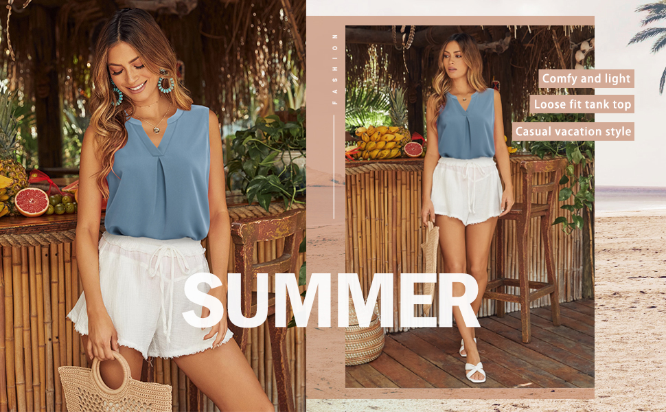women tank blouses v neck pleated chiffon casual summer loose fit sleeveless beach holiday top tee
