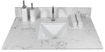 Bathroom Vanity Single Sink White Carrara Marble Countertop Faucet Hole Back Splash for Bathroom