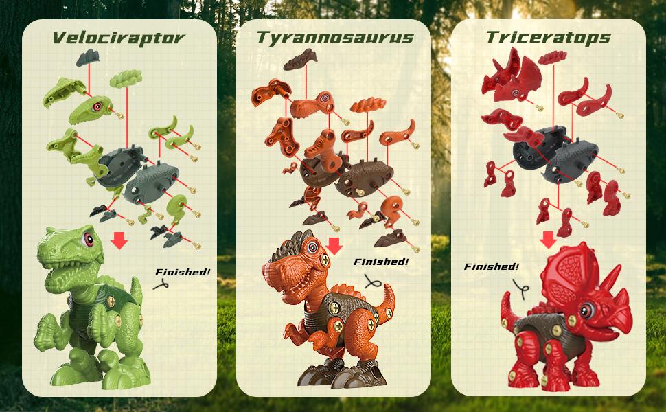 3 Pack Dinosaur Toys: Tyrannosaurus Rex, Triceratops and Velociraptor