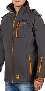 Softshell men's jacket in dark grey with orange zips