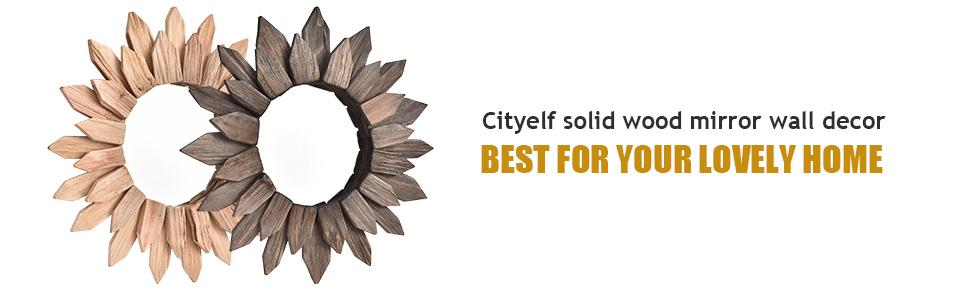 Cityelf wood sunburst mirror