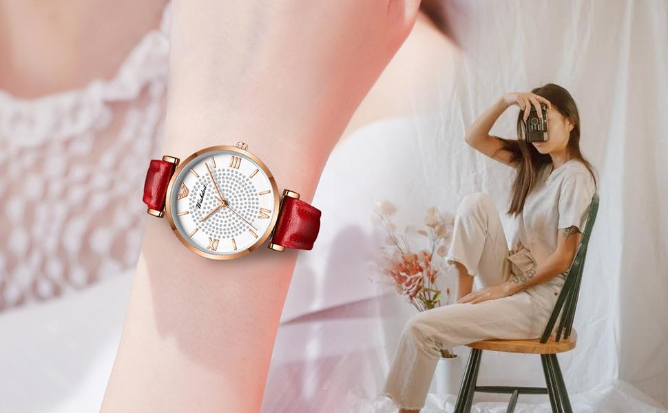 Ladies round ladies watch rose gold red leather strap watch