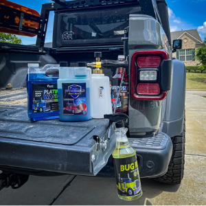 Back of jeep with five different image products - From Vladtheglad on instagram