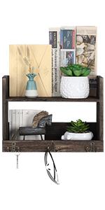 Entryway shelf with hooks