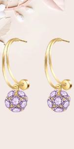 Crystal Flower Ball Drop Earrings