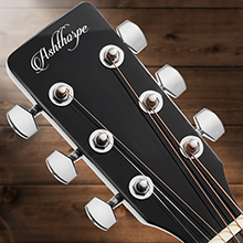 acoustic-electric dreadnought cutaway left-handed guitar, black, chrome tuning pegs, steel strings