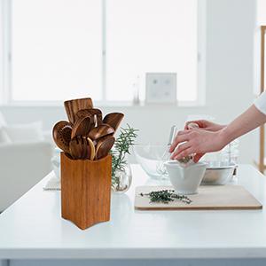 kitchen utensils set wood