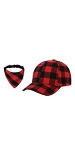 Plaid Dog Bandana Collar Matching Owner Baseball Cap