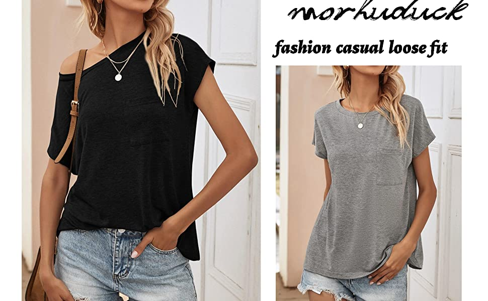 fashion casual loose fit T Shirts with Pocket
