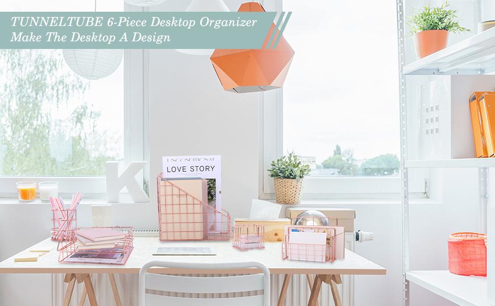 rose gold desk organizer