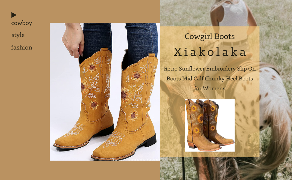 cowboy cowgirl boots western boots for women retro sunflowers embroidery mid calf western boots