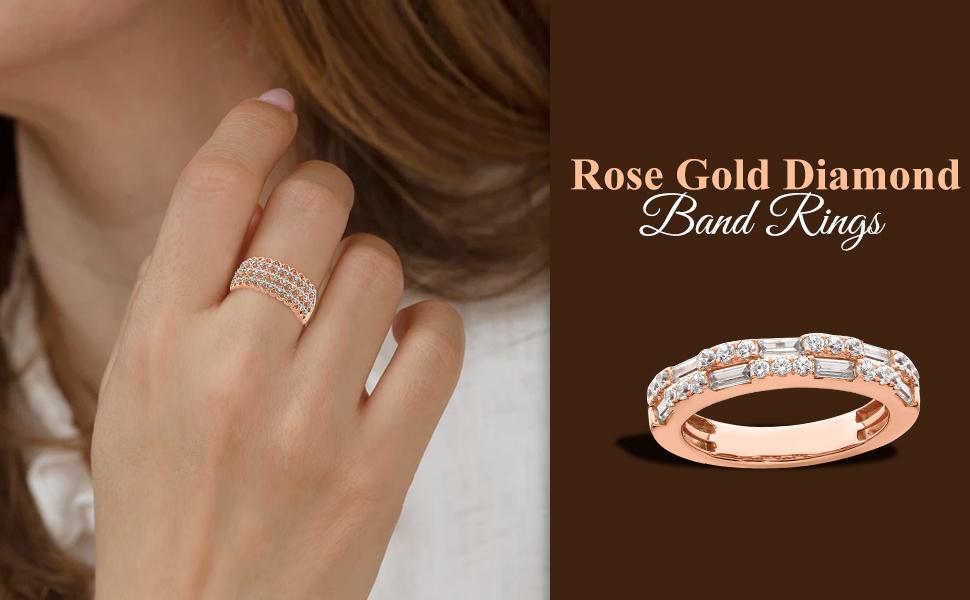 Rose Gold Diamond Band Rings