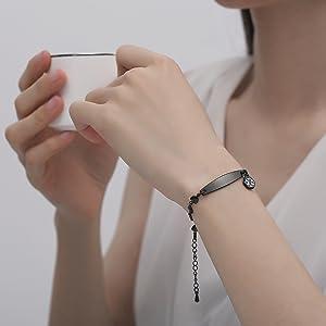 black heart medical id bracelets