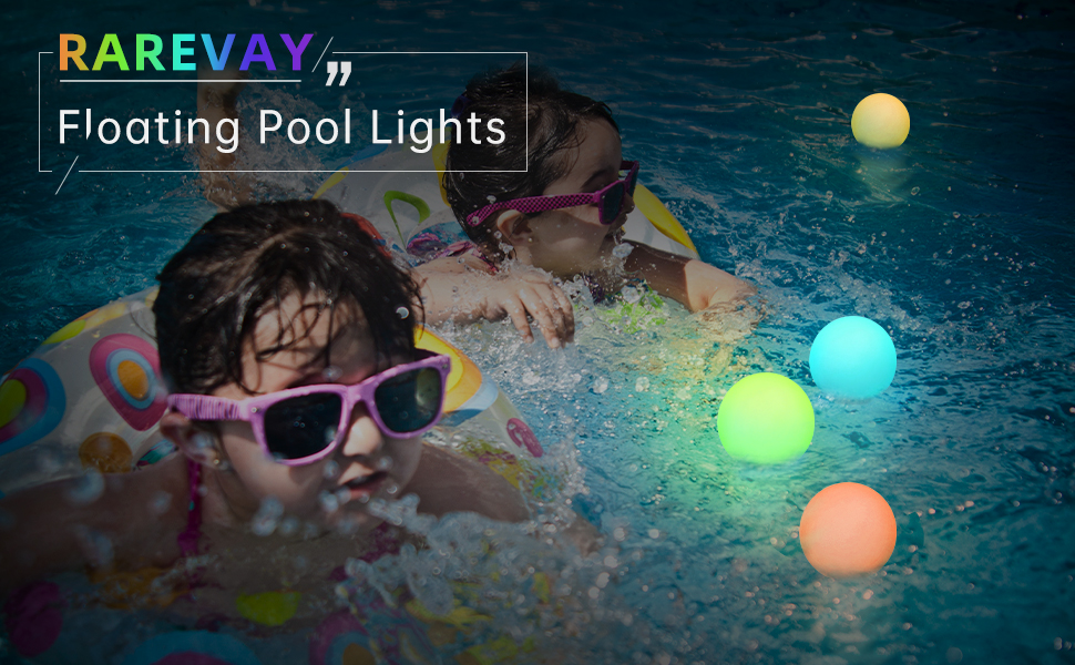 kids with floating pool lights in swimming pool