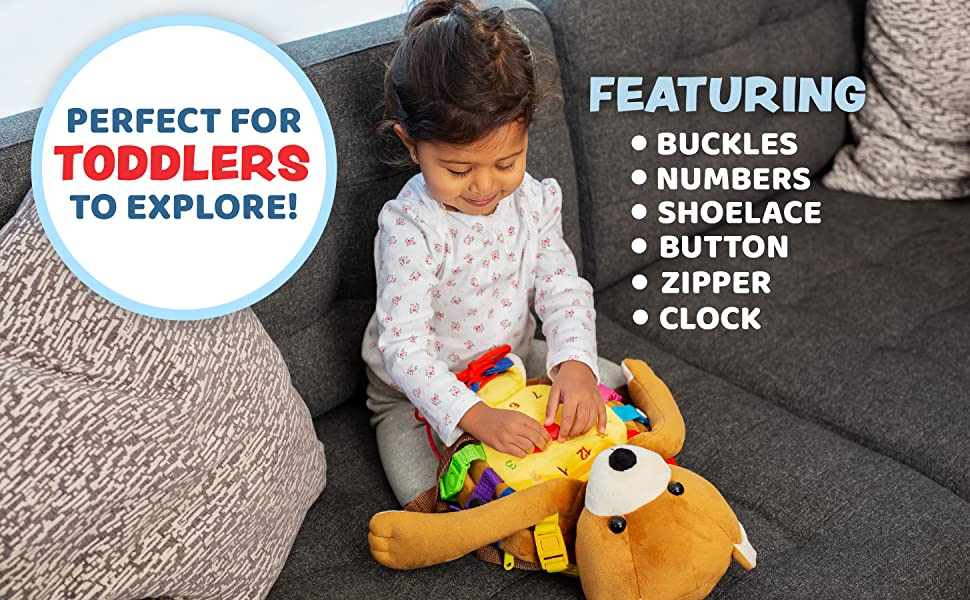 Billy Bear Backpack Buckle Toy, Perfect for toddlers to explore! Featuring Buckles, Numbers etc