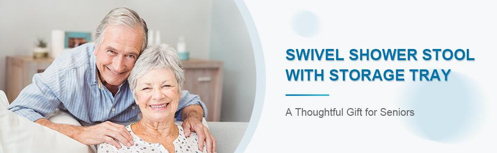 swivel shower stool for seniors elderly adults parents