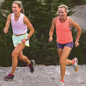 Photo of Shalane Flanagan and Elyse Kopecky running