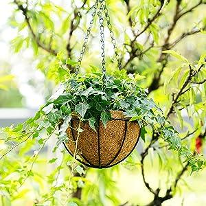 hanging flower pot Coconut Liner Rope hanging planter basket  Hanging Decorative Flower Plant Pot