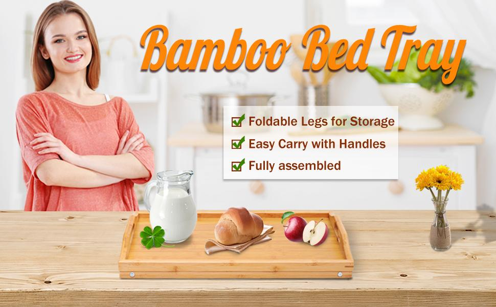bamboo bed tray large