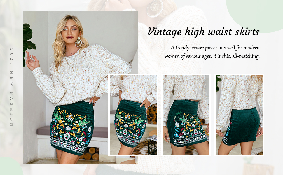 Mini skirts from90 Berrygo Women S High Waist Embroidered Mini Skirt Boho Floral Pencil Skirt At Amazon Women S Clothing Store