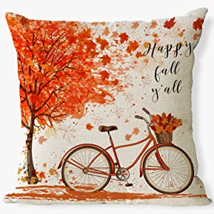 maple leaf pillo covers happy fall y'all throw pillow covers