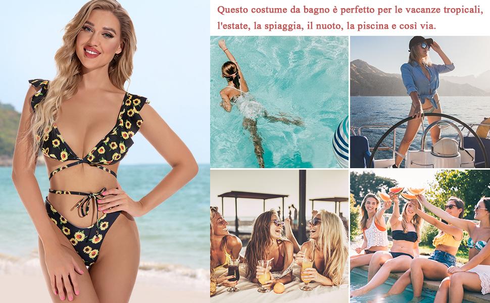Ruffle Floral Bandeau Bikini Halter, Bikini Donna Vita Alta, Costume da Bagno