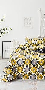 yellow gray polka dot geometric duvet cover set