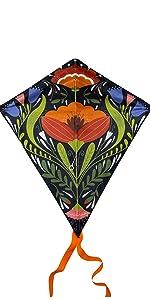 Floral Diamond Kite Design with Orange Tail