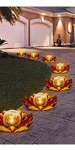 Solar Glass Ball Garden Stake,LED Light for Tabletop,Crackle Glass Ball Lotus Decoration