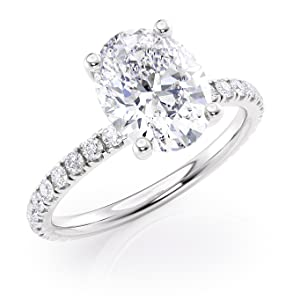 back view Oval Moissanite Ring