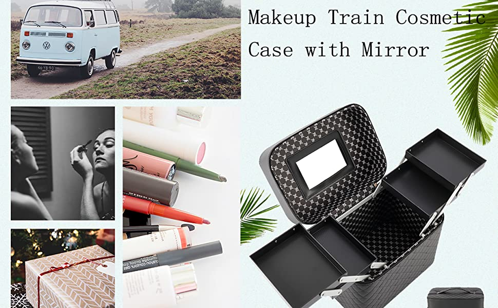 4 Layer Foldable Tray Makeup Cosmetic Case with Mirror
