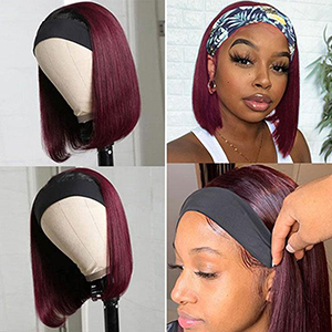 ombre burgundy human hair headband bob wig for black women