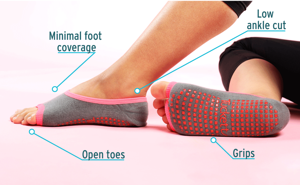 Ballerina toeless sock has minimal foot coverage, low ankle cut, open toes, grips on soles