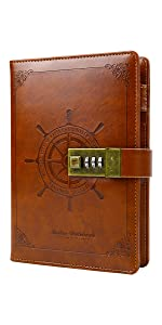 sailor leather journal diary notebook with lock brown