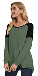 green womens loose fit fall casual long sleeve color block tunic tops comfy blouse