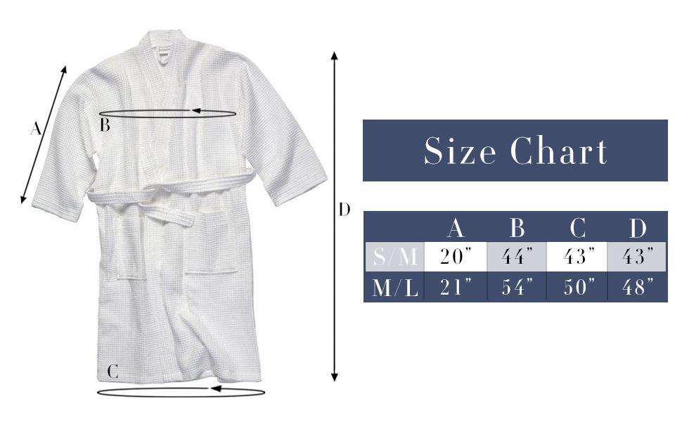 Waffle Robe Size Chart