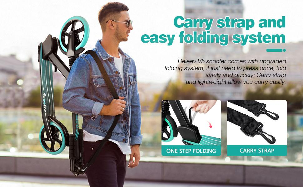 Carry strap and easy folding system