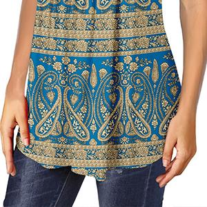 blue top paisley shirt floral top summer short sleeve blouse fit flare