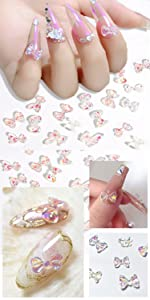 160 Pieces 3D Butterfly Bow Nail Charms Acrylic Nail Decoration
