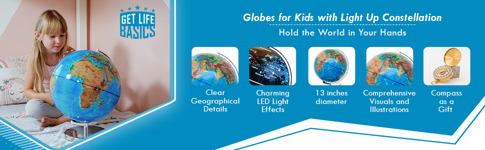 Globes for Kids with Light Up Constellation