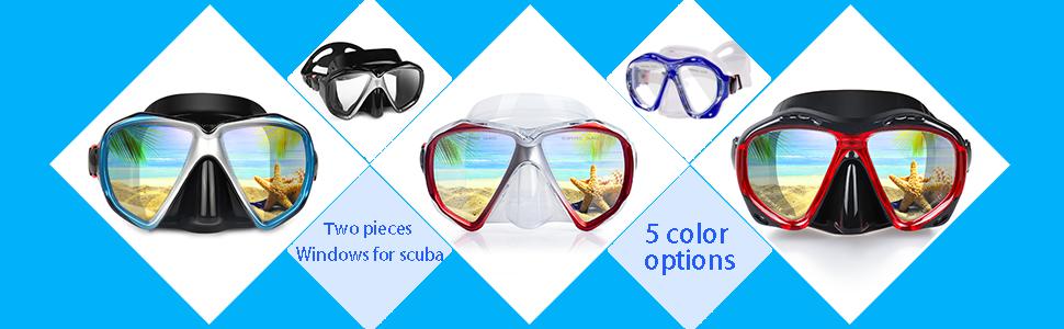 Snorkel Diving Mask, Panoramic HD Scuba Swim Snorkel Goggles gear for Dry Snorkeling, Swimming