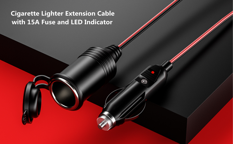 Cigarette Lighter Extension Cable  Plug Socket with 15A Fuse and LED Indicator