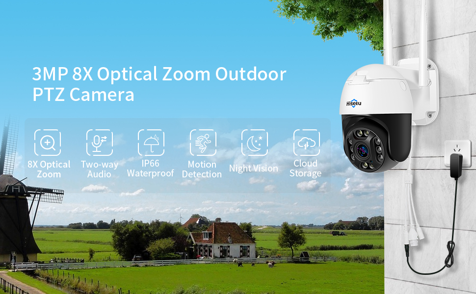 Hiseeu Wireless Outdoor PTZ Camera