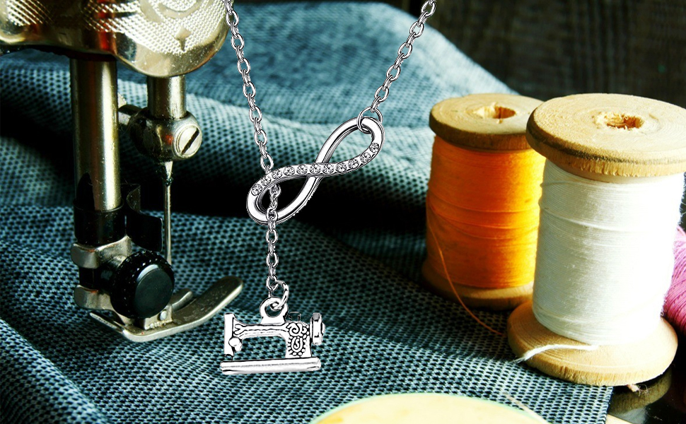 Infinity and Sewing Machine Lariat Y Necklace