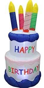 6 Foot Tall Inflatable Happy Birthday Cake 4 Candles Outdoor Indoor LED Light Holiday Decoration