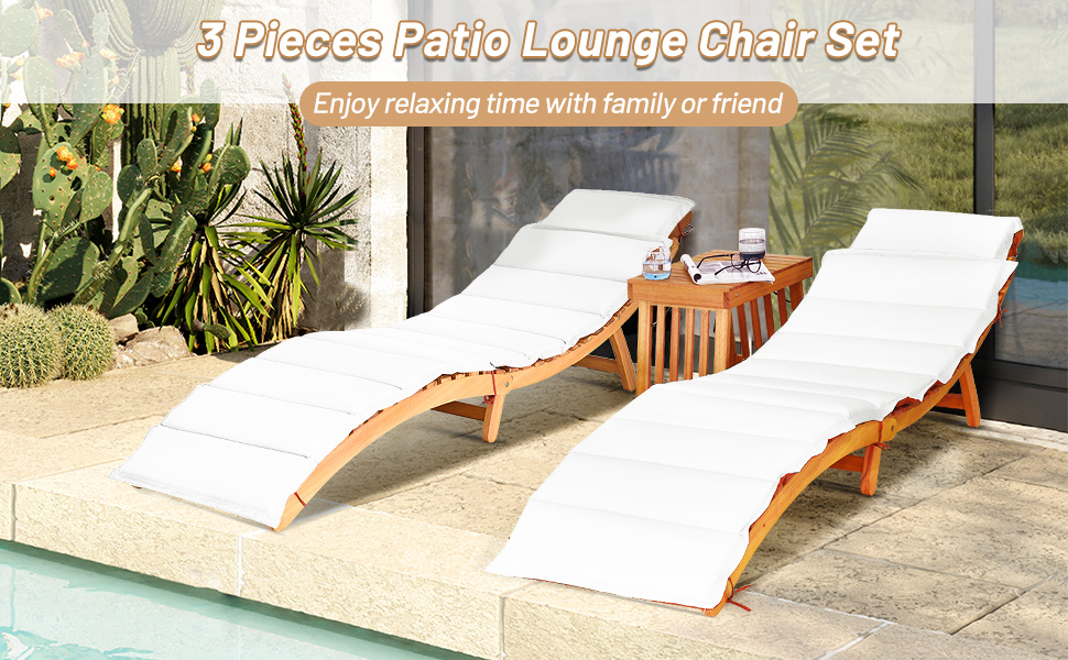 3 pieces patio chaise set with coffee table